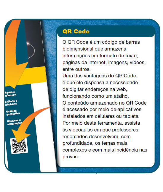 QR Code impresso na apostila para acessar conteúdos extras